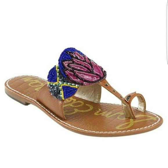 90ca4f3c8 Sam Edelman GERRY Beaded Leather Thong Sandals 10.  M 5b2a7f633c98444f15cc90f4